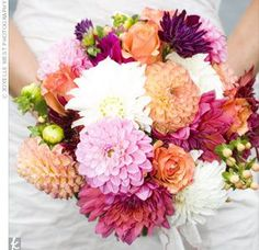 the knot bridal bouquet wedding flowers dahlias orange peach white purple bright spring summer wedding