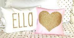 Colored Decorative Throw Pillow w/insert - with Gold or Silver Glitter Vinyl Heart or Star - Coral, Light Pink, Mint, Turquoise, Black & Whi