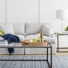 Part of the Bunny Williams collection, this delicately striped indoor/outdoor rug was inspired by an Outdoor Runner Rug, Indoor Outdoor Area Rugs, Condo Living Room, Living Spaces, Cottage Living, Dining Room, Dash And Albert, Rugs On Carpet, Carpets
