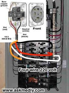 How to install a 220 Volt 4 wire outlet - AskmeDIY - Electrical wiring Four wire 220 outlet from panel - Home Electrical Wiring, Electrical Projects, Electrical Installation, Electrical Outlets, Electrical Engineering, Breaker Box, House Wiring, Electric House, By Any Means Necessary