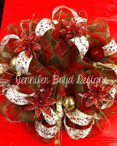 Christmas mesh wreath by Jennifer Boyd Designs.  Find me on Facebook! www.facebook.com/JenniferBoydDesigns