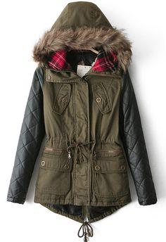 Abrigo con capucha piel sintético manga larga-verde