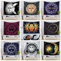 Indian Tapestry Mandala Moon Sun Tapestry Psychedlic Wall Hanging Table Cover