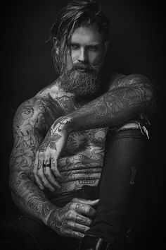 Josh Mario John represented by JOY MODELS in Milan builds up his portfolio with a recent black and white series of portraits captured by fashion photographer Giuseppe Vitariello. See more after the jump: For more of Giuseppe's work visit www. Josh Mario John, Tattoo Photography, Portrait Photography, Beard Model, Inked Men, Beard Tattoo, Tattoo Ink, Hommes Sexy, Beard No Mustache