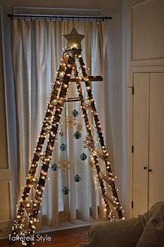 this will be my christmas tree next year.this year i made a fabric tree.love making our trees! Ladder Christmas Tree, Creative Christmas Trees, Noel Christmas, Outdoor Christmas, Xmas Tree, All Things Christmas, Winter Christmas, Christmas Lights, Christmas Crafts