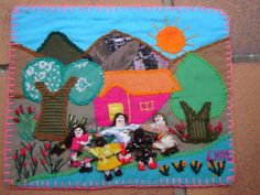 Fecha/ Date: 1995-1996 Artista/ Artist: Taller Laboral de Santa Adriana Formato/ Format: Carta de arpilleras/ Arpillera Card Colección/ Collection: Colección de Jacqueline Adams/ Collection of Jacqueline Adams
