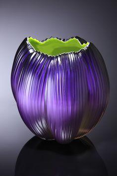 Glass Art Glass b Art Glass Vase Heavy Base Burgundy Purple Blown Glass