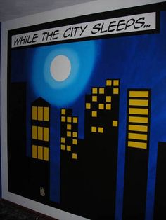 10 Ideas For A Comic Book-Themed Kid's Room Super hero city scape wall mural kids room Superhero Classroom Theme, Superhero Room, Classroom Themes, Superhero City, Superhero Bulletin Boards, Batman Superhero, Superhero Ideas, Baby Batman, Boy Room