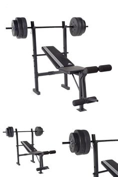 Adjustable Folding Bench Flat Weight Press Gym with weight Set 100 lb Essential #adidas