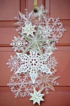 Snowflake Door Hanging from items bought at the dollar store.