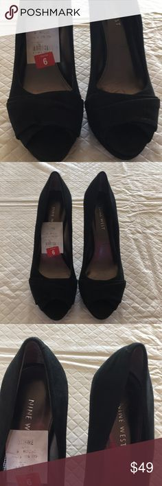 NWT Nine West Zebedee Heels NWT Nine West Black with a Slight Sparkle Heels. These are Beautiful Shoes They Would Be Perfect for a Dress, Pants or to Dress Up your Best Jeans. Leather Upper. They Look Suede and 3 in Heels. See Pic 6 for How I Measured. I Tried Them on in Store. One Heel Shows This. Nine West Shoes Heels