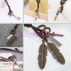 Lady Necklace Vintage Bronze Leaf Cross Key Blue Sand Clock Pendant Leather Cord #Unbranded