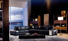 Italian Leather Sectional Sofa furniture in Black