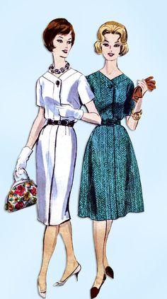 1960s Original Vintage Vogue Pattern 5128 Ladies Plus Size Day Dress Size 41 B #VoguePattern