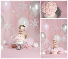 """But i like how the tulle softens the backdrop. Pink Winter """"ONE""""derland Cake Smash Session Baby Girl 1st Birthday, 1st Birthday Photos, Birthday Cake Smash, 1st Birthday Parties, Birthday Ideas, Birthday Decorations, Winter Wonderland Birthday, Winter Birthday, Fete Emma"""