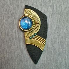 Egyptian style polymer clay pendant focal bead by Sweet2Spicy