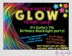 Glow in the Dark Black Light Birthday Party by ReflectLoveDesigns