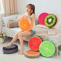 Novo criativo 3D verão frutas PP algodão cadeira de escritório almofada do sofá de volta lance travesseiro nova NVIE em Almofadas de Casa & jardim no AliExpress.com | Alibaba Group