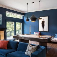 Blue Accent Wall Paint Ideas - matches to popular brands