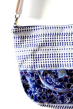 Two Bags In One CrossBody Bag Blue Adjustable Strap by iremabags