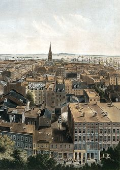 Henry A. Papprill (British, 1817–1896). New York from the Steeple of St. Paul's Church, Looking East, South, and West, 1849. The Metropolitan Museum of Art, New York. The Edward W. C. Arnold Collection of New York Prints, Maps and Pictures, Bequest of Edward W. C. Arnold, 1954 (54.90.587) #newyork #nyc