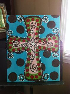 cross for paint party. @Melanie Bauer Bauer Bauer Baker Smith how hard would this one be?