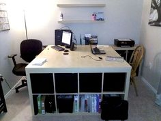 IKEA Hackers: Work/Play/Storage For Two  scale it down for one in office/media room