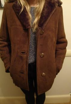 Vintage 70s Sheepskin Shearling Coat 0710W8 | Coats Women&39s coats