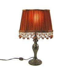 Table Lampshades Pair Custom Design Pleated Burnt by JudisLamps, $390.00