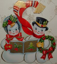 UNUSED-Dbl. Sided-Gold Accents-Snowman Pr.-50's Vintaged Christmas Greeting Card