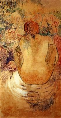 Crouching Tahitian woman - Paul Gauguin