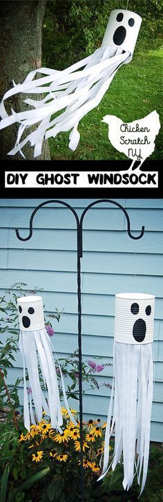 Get ready for Halloween with this DIY tutorial for a ghost windsock with ribbon and paint for a spooky friend straight from the recycle bin