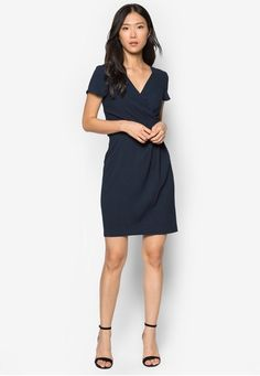 34f5d5fafbc  Wrap  Tie  Front  Dress with 40%  Discount at  Zalora