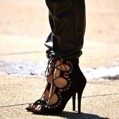 Lace-up stilettos.