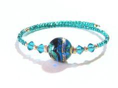 Murano Glass Aqua Black Gold Bangle Bracelet Sea by JKCJewels