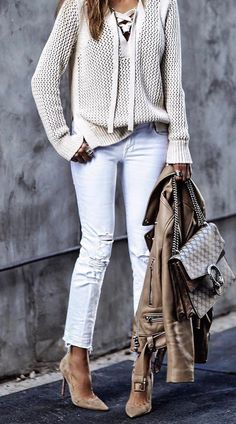 street style outfit knit + jacket + pants + boots