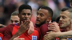 Rashford is congratulated by his England team-mates