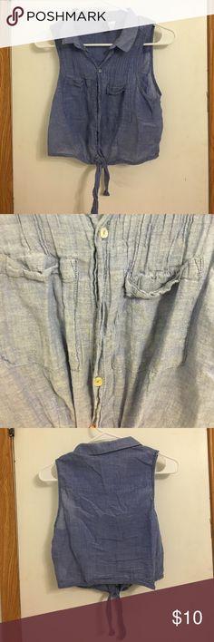 Denim tie vest Missing button, pockets are real H&M Jackets & Coats Vests