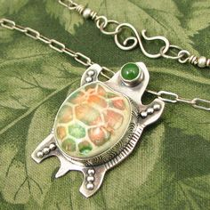 """Ceramic Turtle """"Traveling Home"""" Sterling Pendant with Nephrite Jade stone - OOAK by marybird on Etsy"""