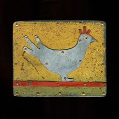 """Judith Hoyt: Whole Chicken, Brooch in found metals, copper, and stainless steel. 2 x 2.5"""""""