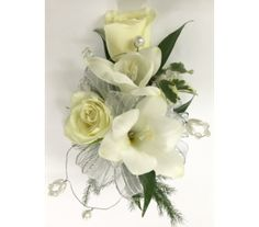 White Roses and Fressia with Beading Wrist Corsage