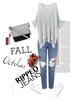 """""""Ripped jeans"""" by butterflypanic ❤ liked on Polyvore featuring NIKE, Topshop, Wilsons Leather, Maybelline and rippedjeans"""