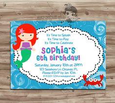 The Little Mermaid Birthday Invitation Little by SewKawaiiKids, $10.00