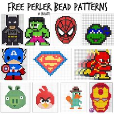 Free Perler Bead Patterns - boy themes! u-createcrafts.com