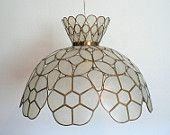 Vintage Tiffany Style Capiz Shell Hanging Swag Lamp White and Gold Tone Flower Pattern