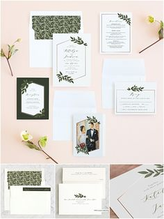 Rose gold and greenery wedding. Foil Wedding Invitations, Rose Gold Foil, Greenery, Place Card Holders