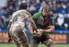 Chris Robshaw, the Harlequins captain takes on Horacio Agulla during the Aviva Premiership match between Harlequins and Bath at Twickenham Stoop on April 13, 2013 in London, England. #Rugby