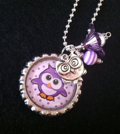 Owl Charm Necklace, Kids Jewelry, Child's Birthday, Christmas Jewelry, Holiday Gift, Black Friday, Owl Pendant, Bottle Cap Necklace, Purple