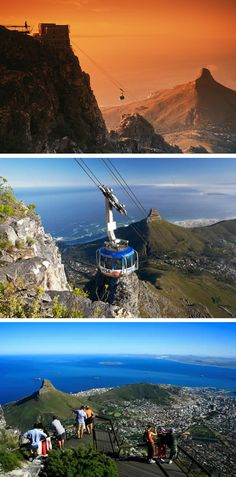 Amongst the many attractions, which can be seen in the Western Cape, Table Mountain is one of the seven wonders of nature in the world. The Table Mountain Aerial Cableway is a state-of-the-art cable car transportation system offering visitors a five-minute ride to the top of Table Mountain in Cape Town. This and other unforgettable experiences of our beautiful Cape, can be arranged by BlaauwVillage. (picture from www.insideguide.co.za)  Let's hear from you! +27 21 554 2371 +27 82 308 1079… Table Mountain, Seven Wonders, Natural Wonders, Cape Town, South Africa, Westerns, Transportation, Cable, Photos