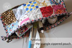 """1/4"""" mark: Tutorial: the triangle pouch Different zipper inset"""